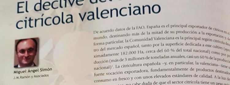 El declive del sector citrícola valenciano en la revista AECA